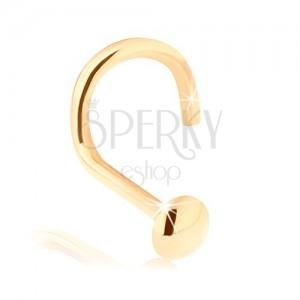 Piercing do nosu ve žlutém 14K zlatě - zahnutý, vypouklá kulatá hlavička