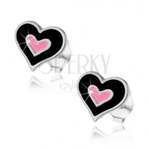 Puzetové náušnice, stříbro 925, dvojité srdce s černou a růžovou glazurou
