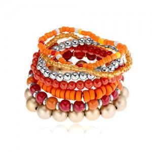 Elastický multináramek, korálky různých tvarů, červená, oranžová, zlatá barva