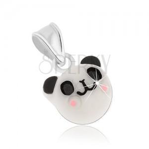 Přívěsek ze stříbra 925, veselá bílá panda - černé uši a oči, růžová líčka