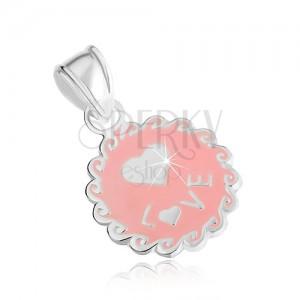 Plochý a kruhový přívěsek ze stříbra 925, růžová barva, vlnky, srdce, nápis