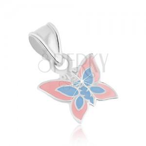 Přívěsek ze stříbra 925, plochý motýlek, světle růžová a modrá glazura