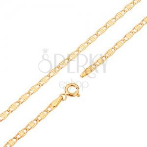 Řetízek ve žlutém 14K zlatě - podlouhlé články zdobené zářezy, 450 mm