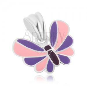 Stříbrný přívěsek 925, motýlek s fialovo-růžovými křídly, ozdobná glazura