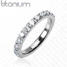 Titanový prsten se zirkony po celém obvodu