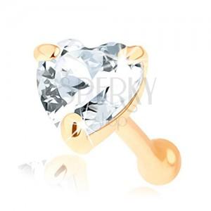 Piercing do nosu ze zlata 585, rovný - čiré zirkonové srdíčko