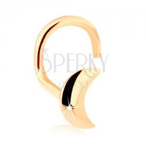 Zlatý zahnutý piercing do nosu 585, lesklý srpek měsíce
