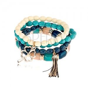 Elastický multináramek, korálky v odstínech modré a béžové barvy, přívěsky