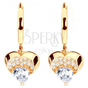 Zlaté náušnice 585 - kroužek s visícím blýskavým srdcem, čiré zirkony