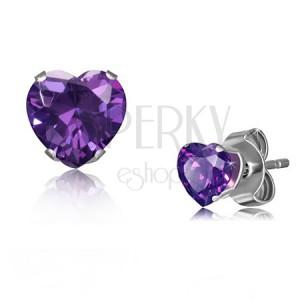 Ocelové náušnice ve stříbrném odstínu, drobné zirkonové srdce fialové barvy