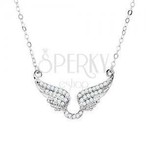 Náhrdelník stříbrné barvy, třpytivá andělská křídla zdobená čirými zirkony