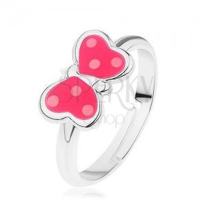 Nastavitelný prsten ze stříbra 925, motýlek - růžová glazura, bílé tečky