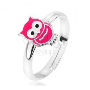 Stříbrný prsten 925, roztahovací, lesklá růžová sovička, precizní detaily