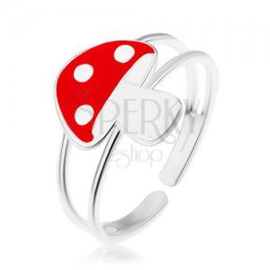 Prsten ze stříbra 925, zdvojená ramena, červenobílá muchomůrka, glazura