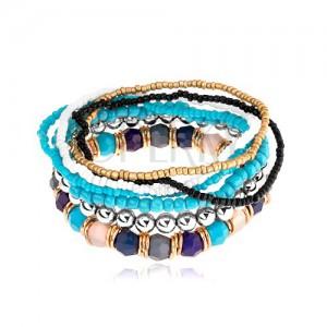 Multináramek, elastický, korálky různých tvarů a barev