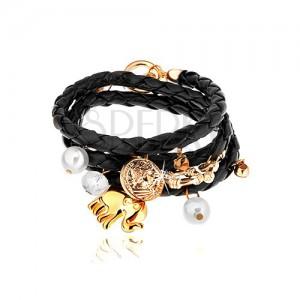 Pletený náramek, černá barva, přívěsky - korálky, čiré zirkony, slon, mince