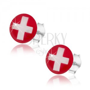 Stříbrné náušnice 925, švýcarská vlajka - červené pozadí, bílý kříž