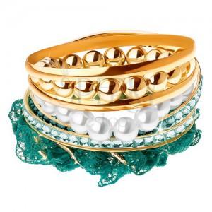 Multináramek, korálky, tyrkysová krajka, kroužky zlaté barvy