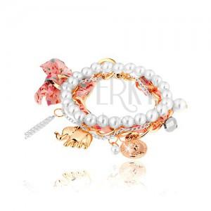 Multináramek, korálky, dva řetízky, stužka, přívěsky - slon, mince