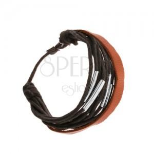 Nastavitelný náramek, černé šňůrky, ocelové rourky, kožený pásek