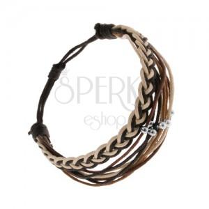 Pletený náramek ze šňůrek, černá, hnědá a béžová barva, ocelové kuličky