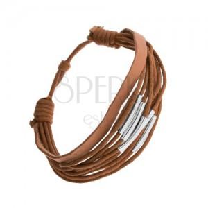 Nastavitelný náramek hnědé barvy, motouzky a kožený pásek, ocelové rourky