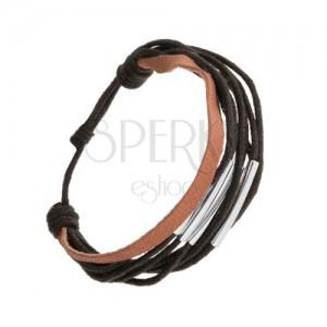 Šňůrkový náramek, nastavitelná délka, černá a hnědá barva, ocelové rourky