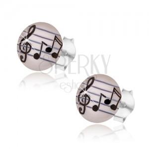 Stříbrné náušnice 925, čirá glazura, hudební motiv - noty, houslový klíč