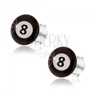 Náušnice, stříbro 925, magická biliárová koule - černá a bílá barva, číslo 8