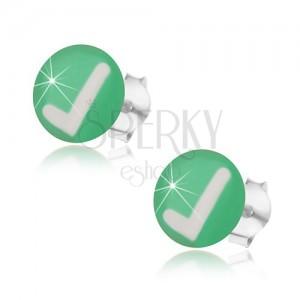Puzetové náušnice ze stříbra 925, zelené pozadí, bílé zatržítko, glazura