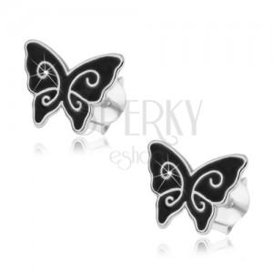 Stříbrné náušnice 925, černý glazovaný motýlek, lesklé spirály, puzetky