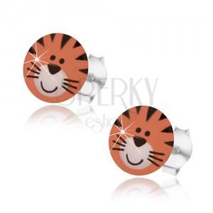 Náušnice ze stříbra 925, roztomilý tygřík, oranžový odstín, černé proužky