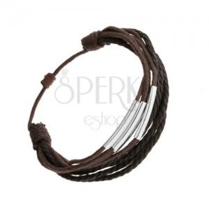 Náramek, tmavě hnědé a černé šňůrky, tenké ocelové rourky