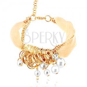 Kombinovaný náramek - bílá stužka a řetízek, zlatá barva, kroužky, korálky