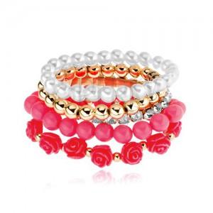 Multináramek - korálky zlaté, bílé a růžové barvy, korálové růže, čiré zirkony