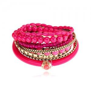 Multináramek - zlatý a fuchsiový odstín, různé korálky, růžový zirkon
