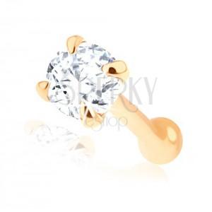 Rovný piercing do nosu ve žlutém 14K zlatě - čirý broušený zirkonek