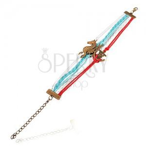 Šňůrkový náramek - červená, bílá a světle modrá barva, mořský koník, kotva