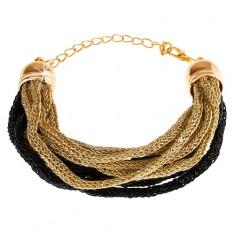 Náramek, měkká pletená vlákna, zlatý a černý odstín, karabinka O10.3