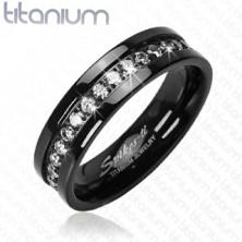 Titanový prsten černý se vsazenými zirkony po obvodu