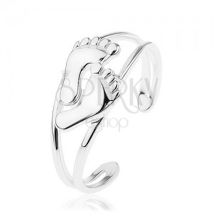 Stříbrný 925 prsten, roztahovací, rozdvojená ramena, malé leské nožky