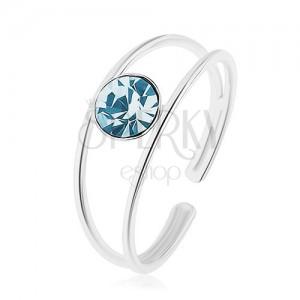 Nastavitelný prsten ze stříbra 925, rozdělená ramena, modrý zirkon