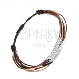 Náramek ze šňůrek černé, hnědé, skořicové a béžové barvy, proužky z oceli