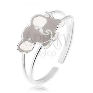 Lesklý prsten, stříbro 925, roztomilý slon pokrytý šedou a bílou glazurou