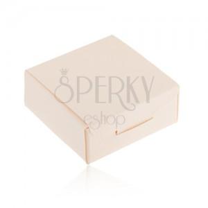 Papírová krabička na dárek - prsten, přívěsek nebo náušnice, krémová barva