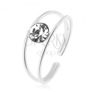Stříbrný prsten 925, nastavitelný, rozdvojená ramena, kulatý čirý zirkon