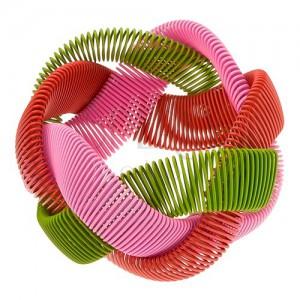 Náramek - elastický pletenec, lesklé drátky - zelená, růžová, červená barva