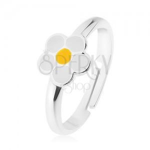 Prsten ze stříbra 925, bílý glazovaný kvítek, žlutý střed, vysoký lesk