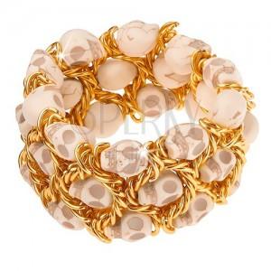 Náramek, elastický, splétaný řetízek zlaté barvy, lebky