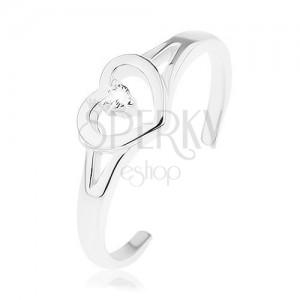 Prsten ze stříbra 925, rozdělená ramena, kontura srdce, čirý zirkonek